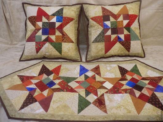 Текстиль, ковры ручной работы. Ярмарка Мастеров - ручная работа. Купить Комплект из 2 лоскутных подушек и салфетки. Handmade. Комбинированный