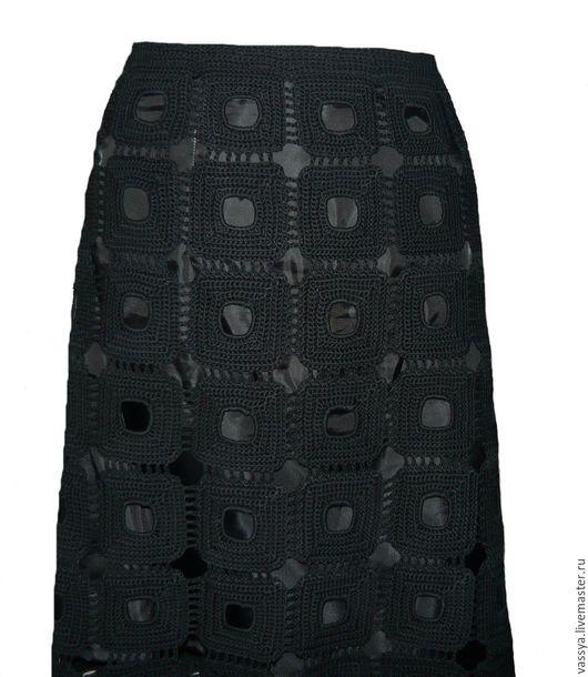 Экстравагантная юбка ручной работы `Чёрные квадраты`, новая коллекция `Весна - Лето 2016`!!!