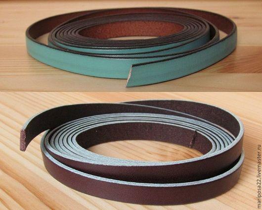 Для украшений ручной работы. Ярмарка Мастеров - ручная работа. Купить Шнур 10х2 кожаный с контрастным краем, бирюзовый и коричневый. Handmade.