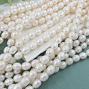 Материалы для творчества handmade. Livemaster - original item Thread 20 cm Natural pearls. figure approx. 6 mm (thickness) white (5650). Handmade.