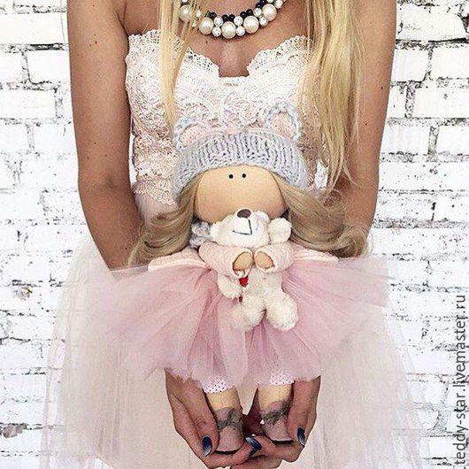 Коллекционные куклы ручной работы. Ярмарка Мастеров - ручная работа. Купить Интерьерная текстильная кукла. Handmade. Бледно-розовый