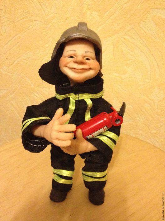 Коллекционные куклы ручной работы. Ярмарка Мастеров - ручная работа. Купить пожарный. Handmade. Комбинированный, профессиональный, атласная лента