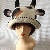 Аксессуары ручной работы. Ярмарка Мастеров - ручная работа Банная валяная шапка коровка. Handmade.