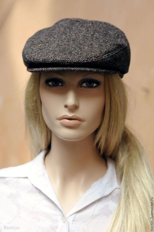 Кепки ручной работы. Ярмарка Мастеров - ручная работа. Купить Модная кепка унисекс из коричневого твида. Handmade. натуральная подкладка