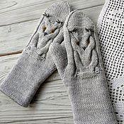 Аксессуары handmade. Livemaster - original item Mittens knitted with needles, double owl. Handmade.