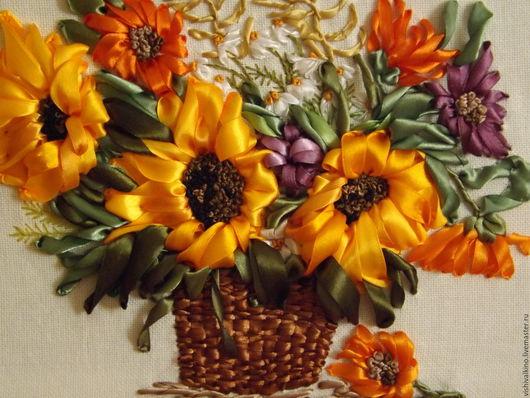 Картины цветов ручной работы. Ярмарка Мастеров - ручная работа. Купить Букет с подсолнухами. Handmade. Подарок, мулине, подарок женщине