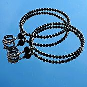 Украшения handmade. Livemaster - original item Mystery - large Hoop earrings rutilated quartz agate black. Handmade.