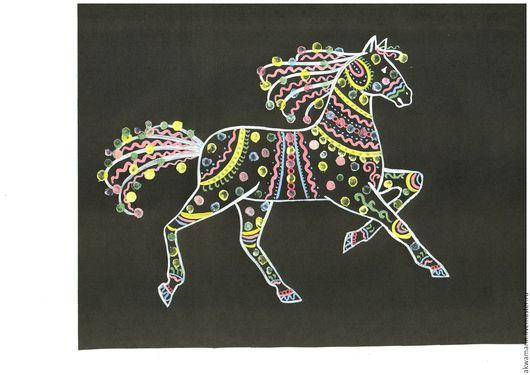 """Животные ручной работы. Ярмарка Мастеров - ручная работа. Купить Картина гуашью """"Лошадка"""" на черной бумаге. Handmade. Черный, белый"""