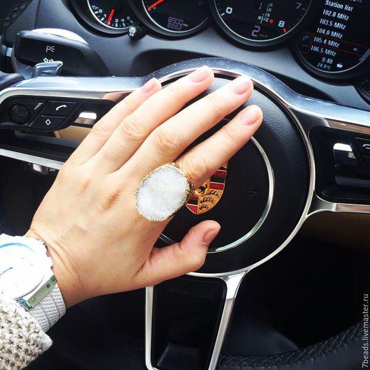 Кольца ручной работы. Ярмарка Мастеров - ручная работа. Купить Кольцо друза в позолоте. Handmade. Комбинированный, камень, друза агата