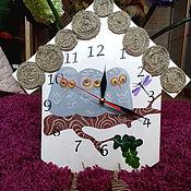 """Для дома и интерьера ручной работы. Ярмарка Мастеров - ручная работа Часы """"Совы на ветке"""". Handmade."""