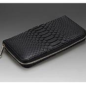 Сумки и аксессуары handmade. Livemaster - original item Purse zipper genuine leather Python black color. Handmade.