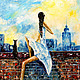 """Пейзаж ручной работы. Ярмарка Мастеров - ручная работа. Купить """"Утро на крыше. Девушка и кошка."""", картина масло. Handmade."""