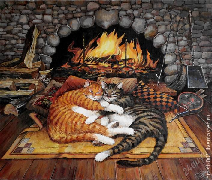 the picture of 'Cats by the fireplace' (full-length), Pictures, Moscow,  Фото №1