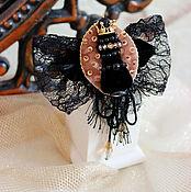 """Украшения ручной работы. Ярмарка Мастеров - ручная работа """"Черная Королева"""" брошь с бантом.. Handmade."""