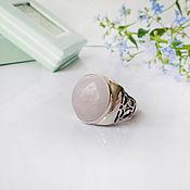 Украшения handmade. Livemaster - original item Silver ring with rose quartz in boho style. Handmade.