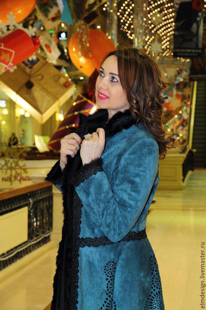 Пальто изумрудного цвета,дублёнка еврозима,дизайнерское пальто!, Дубленки, Москва,  Фото №1