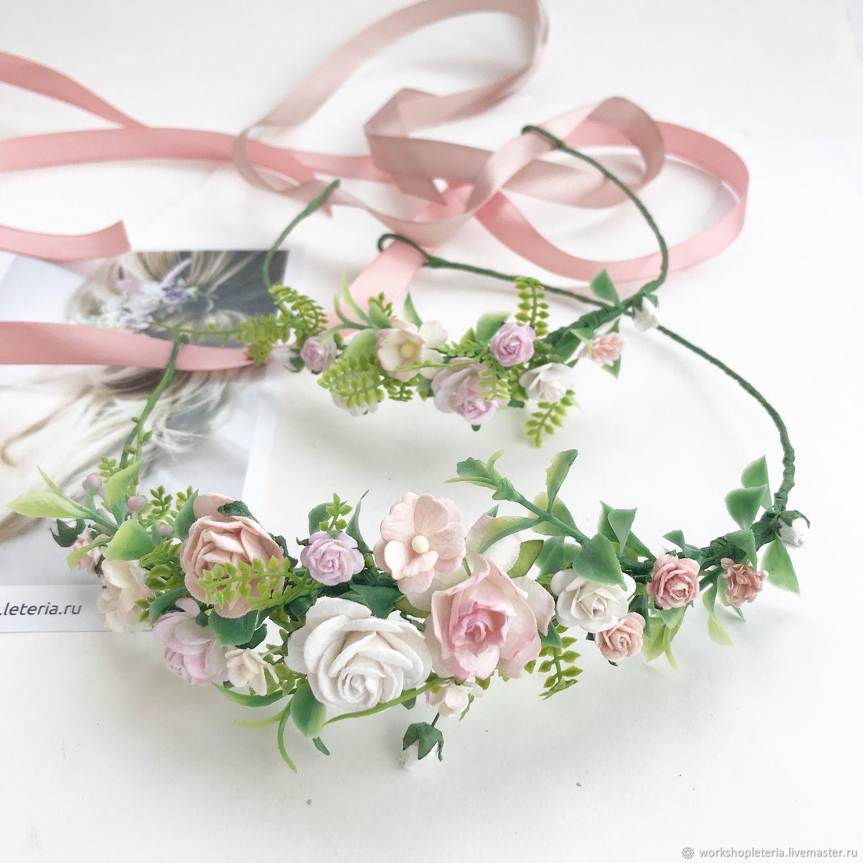 Свадебные украшения ручной работы. Ярмарка Мастеров - ручная работа. Купить Венок для прически в нежно-розовой и персиковой палитре, венок для нев. Handmade.