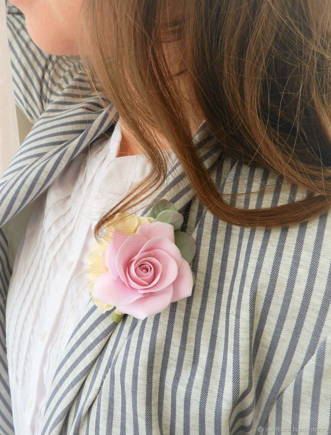 Brooch with pink rose and hydrangea. polymer clay, Brooches, Voskresensk,  Фото №1