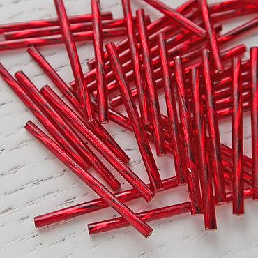 Материалы для творчества ручной работы. Ярмарка Мастеров - ручная работа Стеклярус длинный Чехия 35мм спираль красный (97090). Handmade.