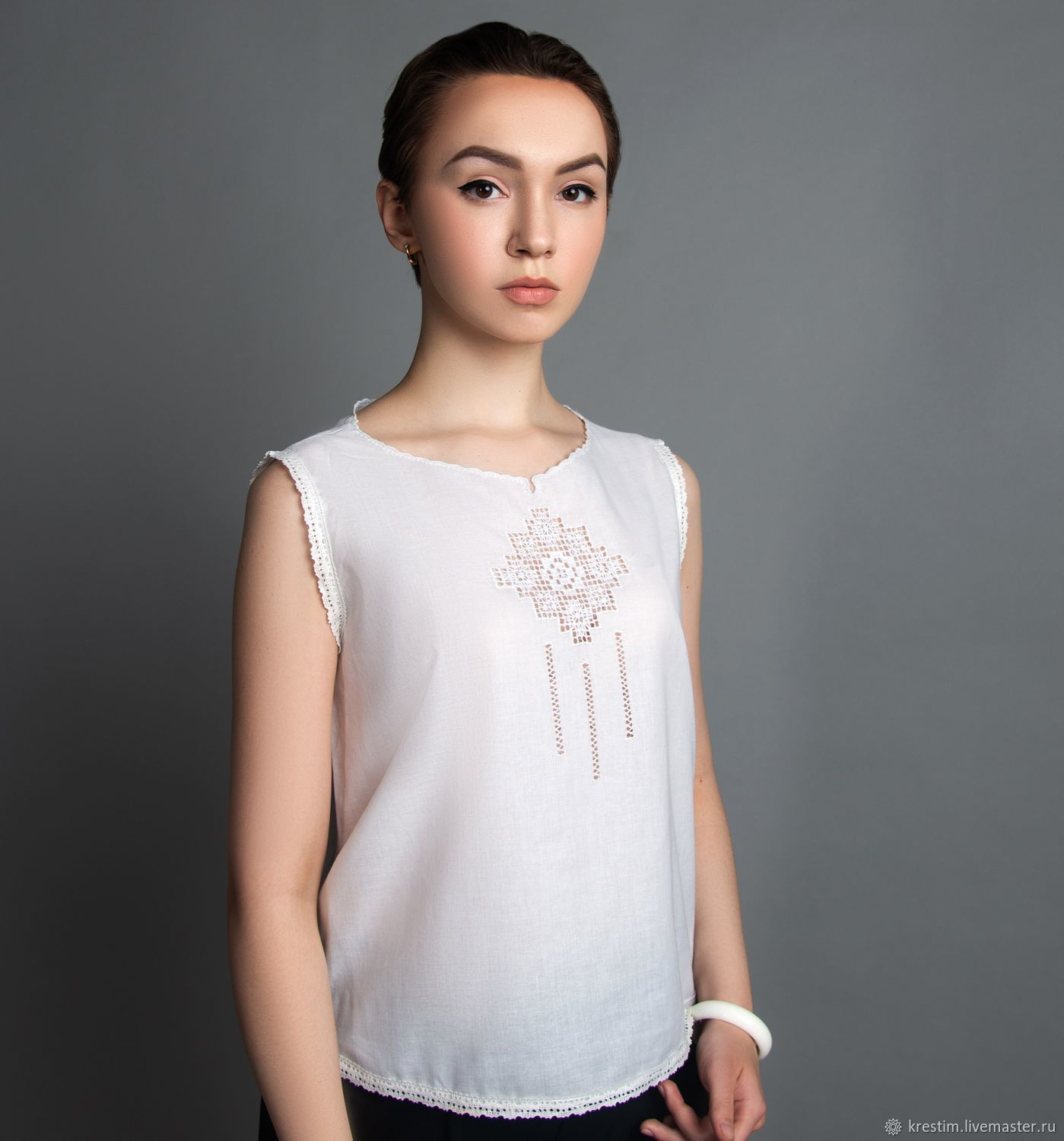 Blouse with Russian embroidery # №3. 100% cotton p 42 and 50, Blouses, St. Petersburg,  Фото №1