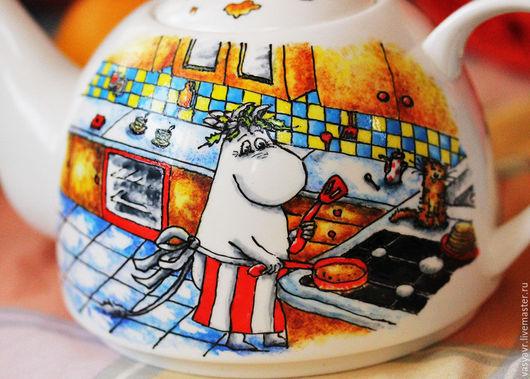 Чайники, кофейники ручной работы. Ярмарка Мастеров - ручная работа. Купить Чайник с муми-троллями. Handmade. Муми-тролль, блинчики