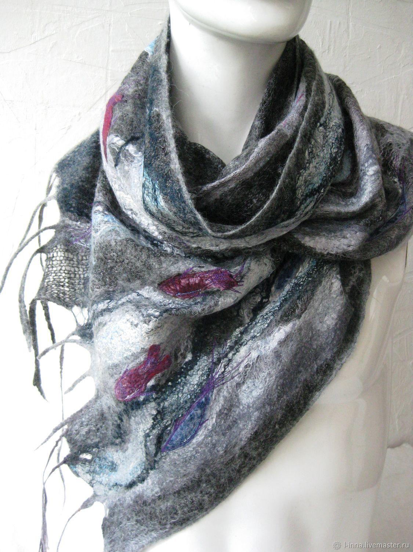 валяный шарф натуральный шерстяной с вышивкой рыбы серый синий бордовый темно-серый шарфик женский купить зимний теплый мокрое валяние авторская работа оригинальный подарок теплый