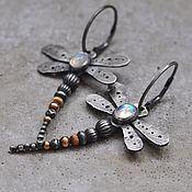 Украшения handmade. Livemaster - original item Dragonfly earrings with moonstone, silver and Goldfield. Handmade.