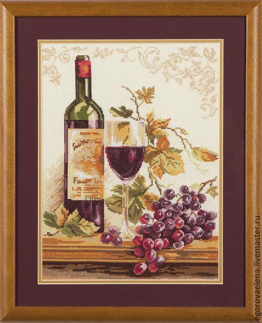 """Натюрморт ручной работы. Ярмарка Мастеров - ручная работа. Купить """"Изабелла"""". Handmade. Бордовый, натюрморт, вино, вышивка, вышивка крестиком"""