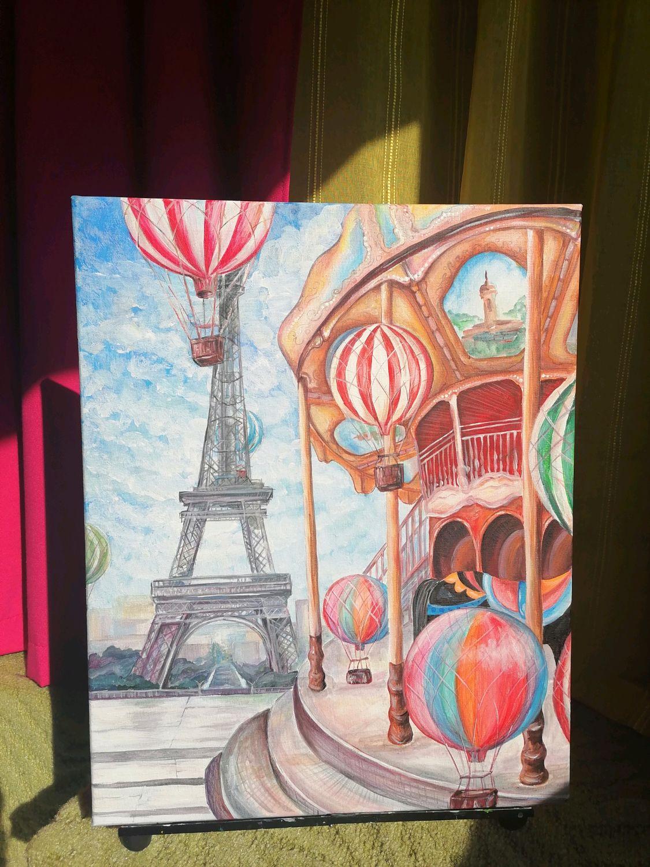 """Картина акриловыми красками """"Карусель в Париже"""", Картины, Советск,  Фото №1"""