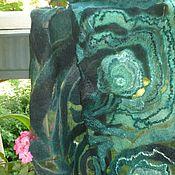 Аксессуары ручной работы. Ярмарка Мастеров - ручная работа Валяный шарф Малахит.  Магия зелёного.. Handmade.