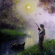 """Картины ручной работы. Ярмарка Мастеров - ручная работа Авторский принт на холсте """"Утро рыбака"""". Handmade."""