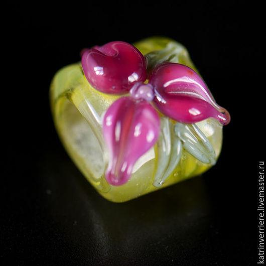 """Для украшений ручной работы. Ярмарка Мастеров - ручная работа. Купить Бусина-регализ """"Розовый цветок"""". Handmade. Ярко-зелёный"""