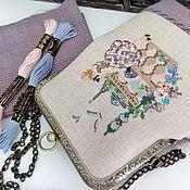 Сумки и аксессуары handmade. Livemaster - original item Handbag with clasp hand cross stitch Walking in Paris. Handmade.