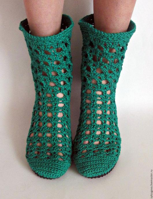 Обувь ручной работы. Ярмарка Мастеров - ручная работа. Купить Вязаные сапожки...Кармин (2). Handmade. Тёмно-зелёный