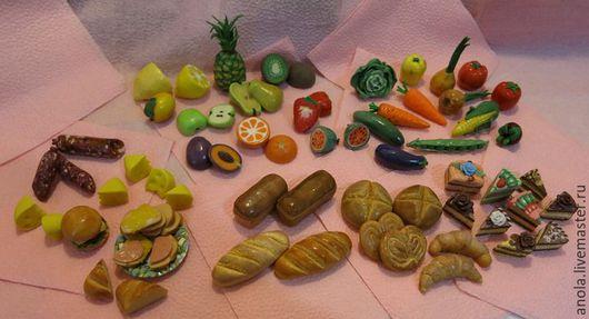 Еда ручной работы. Ярмарка Мастеров - ручная работа. Купить Миниатюрные продукты для кукольного дома. Handmade. Полимерная глина, овощи