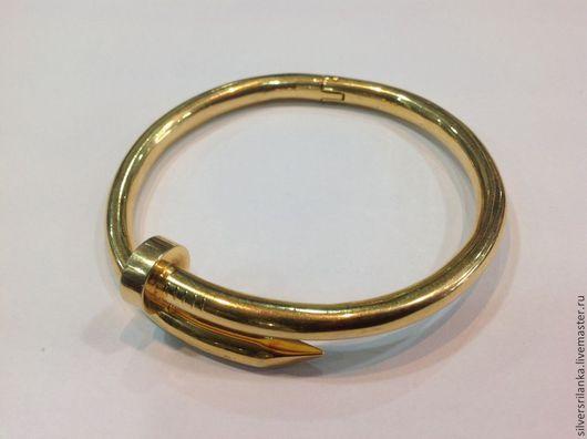 Украшения для мужчин, ручной работы. Ярмарка Мастеров - ручная работа. Купить Брутальный браслет-гвоздь золото 585 пробы. Handmade.