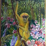 Картины и панно ручной работы. Ярмарка Мастеров - ручная работа Картина маслом. Обезьянка в джунглях.. Handmade.