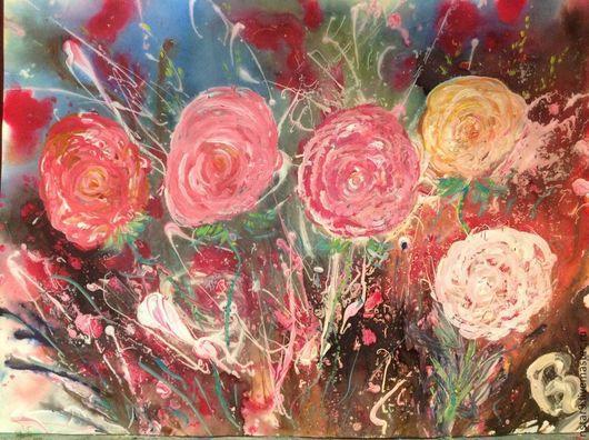 Картины цветов ручной работы. Ярмарка Мастеров - ручная работа. Купить Розовые розы. Handmade. Розовый, подарок на день рождения