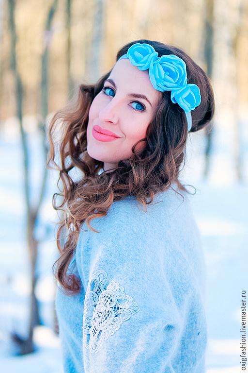 """Диадемы, обручи ручной работы. Ярмарка Мастеров - ручная работа. Купить Повязка на голову с светло-голубыми розами """"Нежность"""". Handmade."""