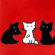 """Канцелярские товары ручной работы. Ярмарка Мастеров - ручная работа Обложка """"Три кота"""". Handmade."""