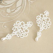 Свадебный салон handmade. Livemaster - original item Wedding earrings tatting lace earrings for bride. Handmade.