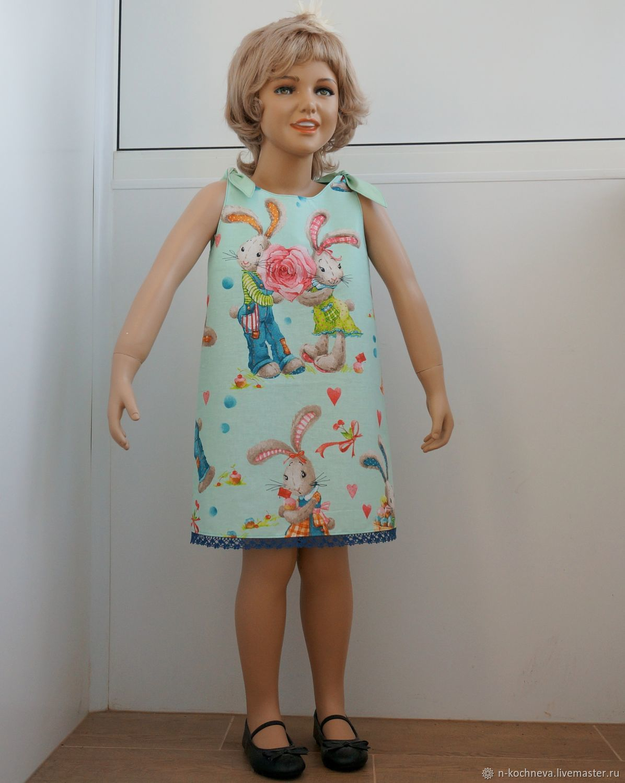 Детское платье сарафан с зайцами Тильдами