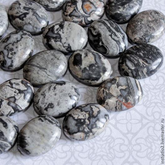 Для украшений ручной работы. Ярмарка Мастеров - ручная работа. Купить Яшма серая 16 мм картографическая овал - бусины камни для украшений. Handmade.