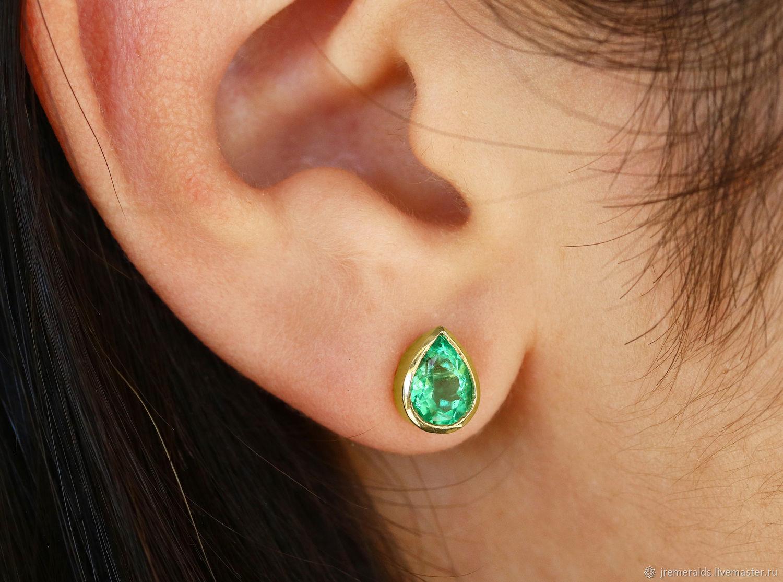 Order 18k Pear Colombian Emerald Earrings Bezel Stud