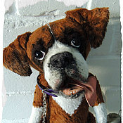 Куклы и игрушки ручной работы. Ярмарка Мастеров - ручная работа Друг Дюк.  Ваш питомец по фото. Собачка-тедди. Боксер. Handmade.