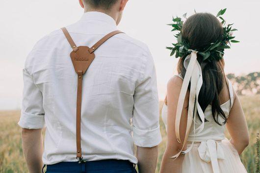 Пояса, ремни ручной работы. Ярмарка Мастеров - ручная работа. Купить Подтяжки кожаные, свадебные подтяжки. Handmade. Подтяжки
