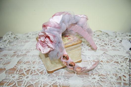 """Диадемы, обручи ручной работы. Ярмарка Мастеров - ручная работа. Купить Вуалетка """"Розовые орхидеи"""". Handmade. Кремовый, вуалетка"""