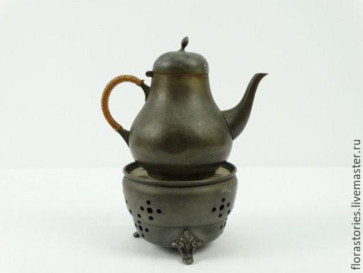Винтажная посуда. Ярмарка Мастеров - ручная работа. Купить Антикварный латунный чайник с подогревом. Handmade. Серый, винтаж