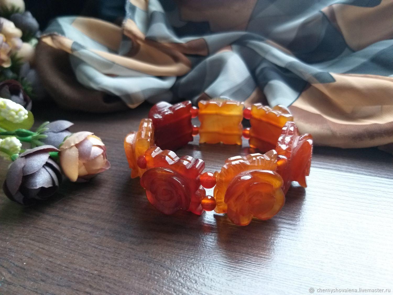 Carved carnelian bracelet, Bead bracelet, Moscow,  Фото №1
