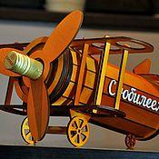 Оформление бутылок ручной работы. Ярмарка Мастеров - ручная работа Мини бар бутылочница для вина Самолет. Handmade.